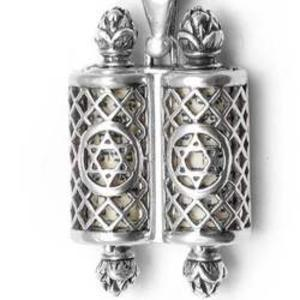 Star of David Torah Scroll Mezuzah Necklace - Sterling Silver