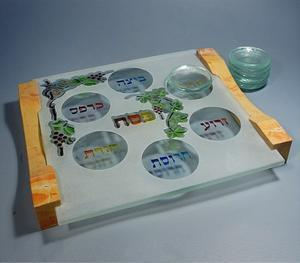 Kanot Seder Plate - Glass with Jerusalem Stone