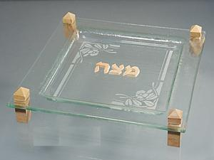 Katzrin Matzah Plate - Glass and Jerusalem Stone