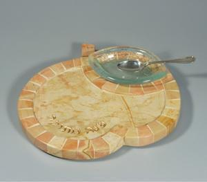 Hadar Apple and Honey Dish - Jerusalem Stone