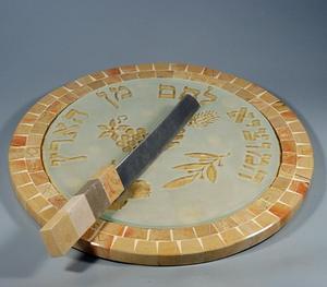 Dagan Challah Plate and Knife Set - Jerusalem Stone and Glass