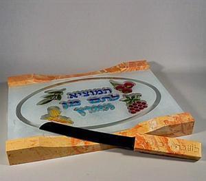 Kubane Challah Plate and Knife Set - Jerusalem Stone and Glass