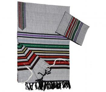 Wool Tallit - Joseph's Coat on Gray