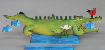 Crocodile Children's Hannukah Menorah -  Metal and Wood