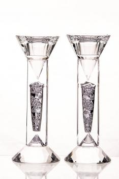 Crystal Candle Holders with Sterling Silver Embellishments