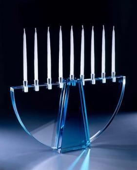 Blue Crescent Menorah