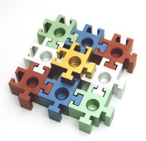Square Puzzle Piece Menorah - Metal