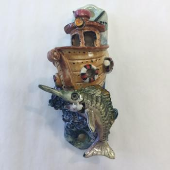 Deep Sea Fishing Mezuzah - Painted Porcelain