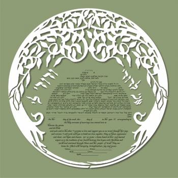 Double Tree Ketubah in Light Green