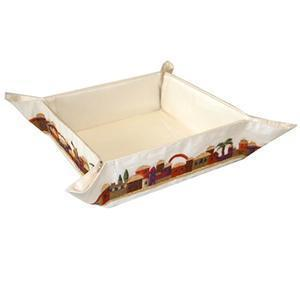 Jerusalem Red Matzah Holder - Embroidered Linen