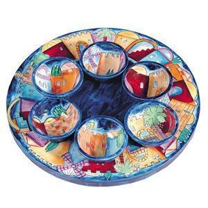 Jerusalem Seder Plate - Hand Painted Wood