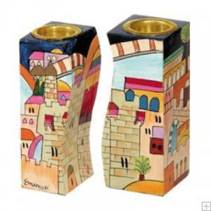 Jerusalem Shabbat Candle Holders - Painted Wood