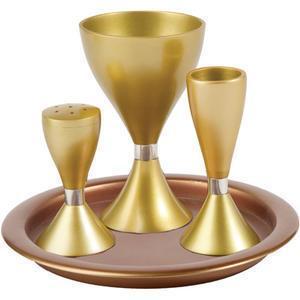 Anodized Aluminum Havdalah Set - Gold