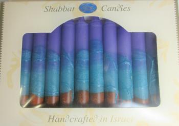 Safed Shabbat and Holiday Candles Blue Purple Orange
