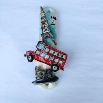 Europe Mezuzah - Painted Porcelain