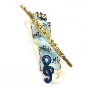 Flute Mezuzah-Painted Porcelain