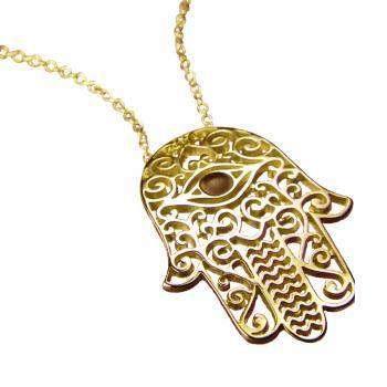 Hamsa with Eye Pendant Gold