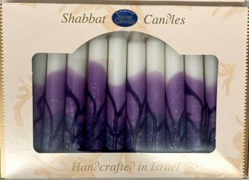 Safed Shabbat and Holiday Candles Purple & White