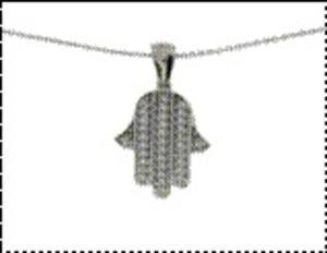 Hamsa Necklace - White Gold