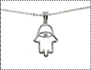 Hamsa Eye Necklace - White Gold