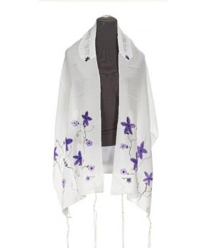 Purple Flowers Silk Talit