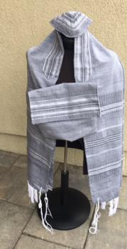 Silk Tallit-Gray with Black and White