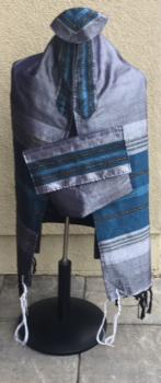 Silk Tallit-Gray with Turquoise