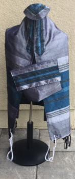 Gabrieli Silk Tallit -Gray and Turquoise