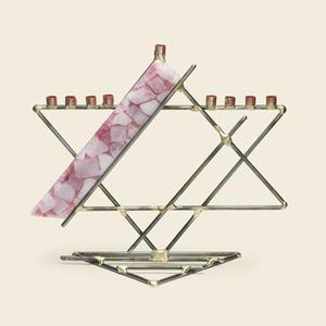 Glass Ribbon Star Menorah - Glass, Steel, and Copper