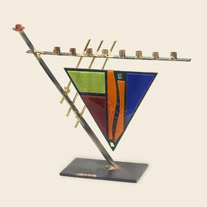 Triangular Art Deco Menorah - Glass, Steel, and Copper
