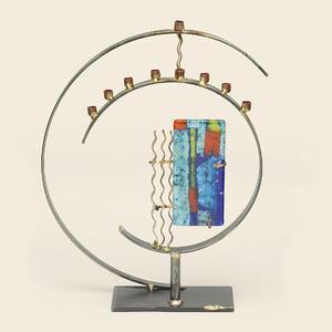 Circular Art Deco Menorah - Glass, Steel, Copper