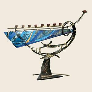 Large Swirled Menorah - Glass, Steel, and Copper