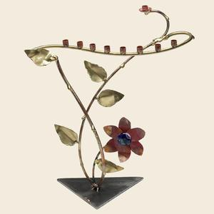 Large Tree of Life Menorah - Glass, Steel, and Copper