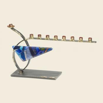 Small curved steel menorah with glass triangle