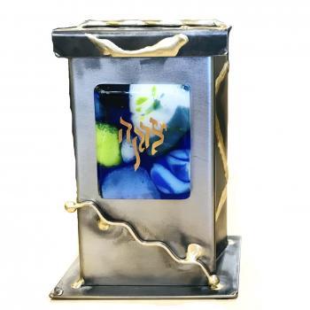 Basic Tzedakah Box - Glass, Steel, and Copper