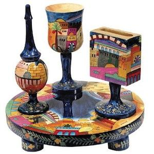 Jerusalem Havdalah Set - Painted Wood