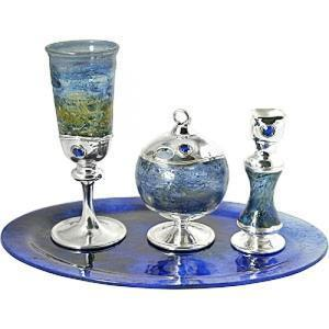 Blue Blown Glass Havdalah Set - Sterling Silver
