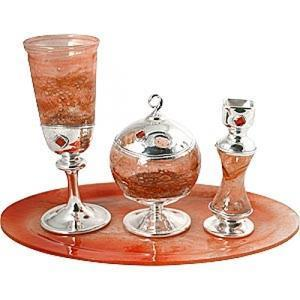 Red Blown Glass Havdalah Set - Sterling Silver