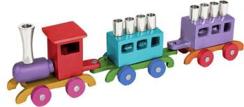 Multicolor Train Menorah - Aluminum