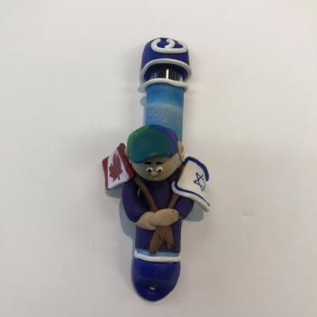CANADA AND ISRAEL FLAG MEZUZAH - FIMO CLAY
