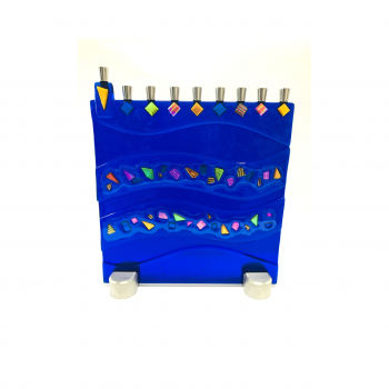 Cobalt Blue Dichroic Glass Menorah