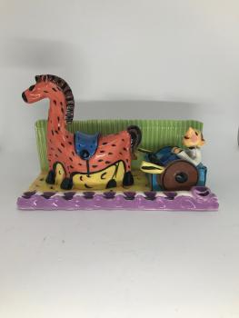 Ceramic Horse and Cart Hanukkah Menorah by Inna O
