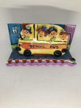 Ceramic School Bus Hanukkah Menorah by Inna O