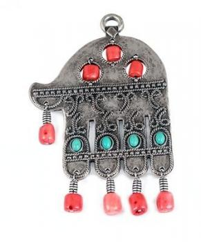 Silver Plated Hamsa with Beads