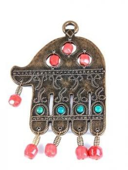 Gold Plated Hamsa with Beads