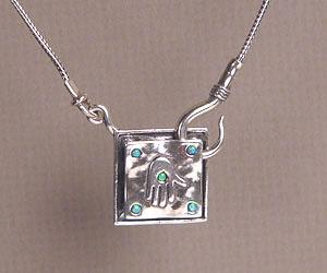 Hamsa Square Necklace - Sterling Silver