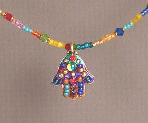 Multicolored Beaded Hamsa - Metal