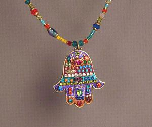 Large Multicolored Beaded Hamsa - Metal