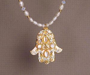 Large Pearlesque Beaded Hamsa - Metal