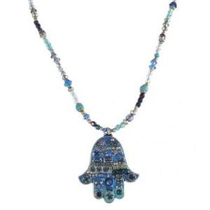 Large Blue Beaded Hamsa - Metal